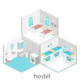 Isometric hotel room with bunk bed and window. Flat 3D illustartion. sleeping room with several beds Stock Images