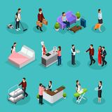 Isometric Hotel Services Set. With maid bellboy waiter receptionist clients characters ironing cleaning room cooking laundry services isolated vector royalty free illustration
