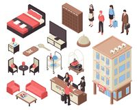 Isometric Hotel Set. Isometric set with hotel building furniture staff visitors and reception isolated on white background 3d vector illustration vector illustration