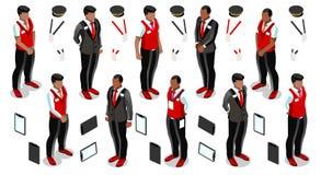 Isometric Hotelowa Recepcyjna ikona Ustalony Inkasowy Wektorowy Illustra Zdjęcie Stock
