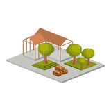 Isometric house architecture model and trees design Royalty Free Stock Photo