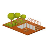 Isometric house architecture model and trees design Stock Photos