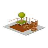 Isometric house architecture model and trees design Royalty Free Stock Images