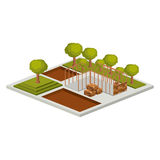 Isometric house architecture model and trees design. House architecture model with trees icon. Isometric 3d structure and perspective theme. Isolated design Stock Photos