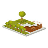 Isometric house architecture model and trees design. House architecture model with trees icon. Isometric 3d structure and perspective theme. Isolated design Royalty Free Stock Image