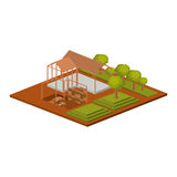Isometric house architecture model and trees design. House architecture model with trees icon. Isometric 3d structure and perspective theme. Isolated design Royalty Free Stock Images