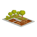 Isometric house architecture model and trees design Stock Photo