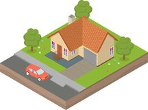 Isometric house with backyard and car. The house is in isometric yard and car vector illustration