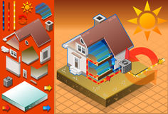 Isometric house with conditioner. Detailed animation of a Isometric house with conditioner in cold production Royalty Free Stock Images