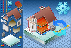 Isometric house with conditioner in heat production Stock Photos