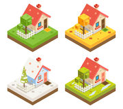 Isometric House 3d Icon Real Estate Symbol Meadow Season 3d isometric Background Design Vector Illustration Stock Photography