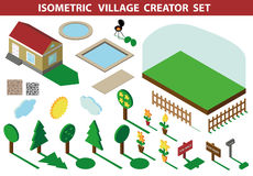 Isometric house.3D Village Landscape creator kit Royalty Free Stock Photography