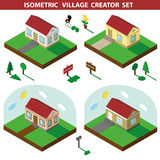 Isometric house.3D Village Landscape creator set Stock Photo