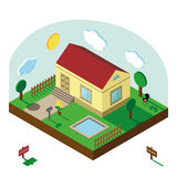 Isometric house.3D Village landscape,summer yard Royalty Free Stock Images