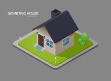 Isometric house on ground Stock Image