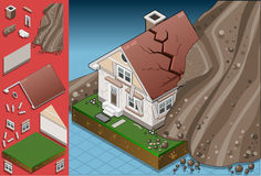 Isometric house hit by landslide. Detailed illustration of a house hit by landslide Royalty Free Stock Photos