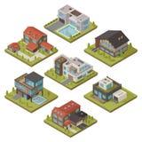 Isometric House Icon Set Stock Image