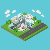 Isometric House On The Plot Of Land Royalty Free Stock Images