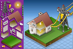 Isometric house powered by electrical tower. Detailed animation of a Isometric house with solar panel in production of energy from the sun Stock Photography