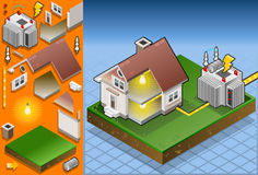 Isometric house powered by electrical transformer Stock Photos