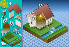 Isometric house powered by watermill. Detailed animation of a Isometric house powered by watermill Royalty Free Stock Photos