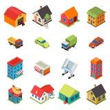 Isometric House Real Estate Car Icons Retro Flat