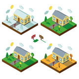 Isometric house set.3D Village.Landscape in Royalty Free Stock Photo
