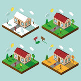 Isometric house set.3D Village.Landscape in seasons.Sky. Isometric house,modern 3D style.Vector illustration.Isomatic landscape.One Village in different seasons Royalty Free Stock Images