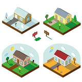 Isometric house set.3D Village.Seasonal Landscapes. Isometric house,modern 3D style.Vector illustration.Isomatic landscape.Village in different seasons.Small Stock Images
