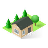 Isometric house. Isometric small house with green grass and trees stock illustration