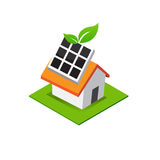 Isometric house with solar cell power on roof, eco home icon vec Stock Images