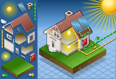 Isometric house with solar panel. Detailed animation of a Isometric house with solar panel in production of energy from the sun Royalty Free Stock Image