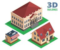 Isometric House  Store and Building Designs Royalty Free Stock Photos