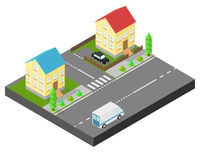 Isometric house. Two houses on the same street. Sidewalk with trees, the road the car. The yard is fenced with a wooden fence. Stock Photography