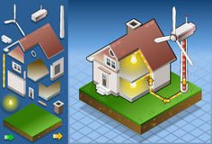 Isometric house with wind turbine. Detailed illustration of a Isometric house with wind turbine in production of energy from the wind Royalty Free Stock Photos