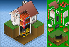 Isometric house with Wood fired boiler. Detailed animation of a Isometric house with Wood fired boiler Royalty Free Stock Image