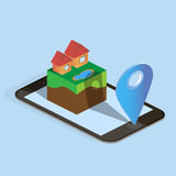 Isometric houses, mobile phone and map arrow Stock Photography
