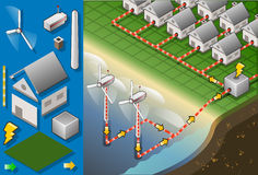 Isometric houses with offshore wind turbines. Detailed illustration of a Isometric houses with offshore wind turbines in production of energy Royalty Free Stock Images