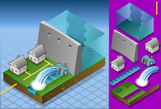 Isometric houses powered by watermill. Detailed animation of a Isometric houses powered by watermill Stock Photos