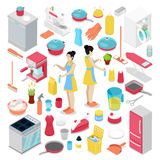 Isometric Housework Objects with Housewife, Cleaning Tools and Cutlery Stock Photography