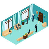 Isometric Human Personnel Recruitment Template. With people waiting for job interview near office room vector illustration Stock Images