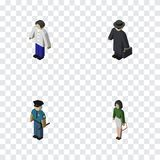 Isometric Human Set Of Pedagogue, Male, Detective And Other Vector Objects. Also Includes Educator, Boy, Man Elements. vector illustration