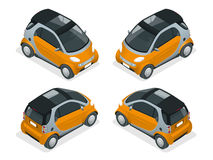 Isometric Hybrid Car. City car isolated on white background. Vector compact smart car. Vehicles isolated. Isometric Hybrid Car. City car isolated on white Stock Photography