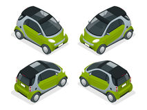 Isometric Hybrid Car. City car isolated on white background. Vector compact smart car. Vehicles isolated. Isometric Hybrid Car. City car isolated on white Royalty Free Stock Photography