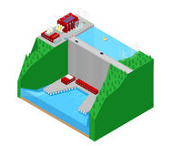 Isometric Hydroelectric Plant Factory Electric Power Station. Vector 3d flat illustration Royalty Free Stock Image