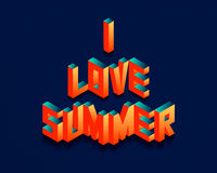 Isometric I Love Summer quote background stock image