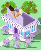 Isometric ice-cream parlor. Illustration of ice-cream parlor with outdoor tables and chairs Royalty Free Stock Photo