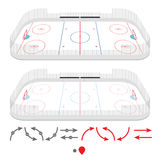 Isometric ice hockey rink. With set of training elements Stock Photography