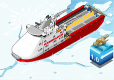 Isometric Icebreaker Ship Breaking the Ice Royalty Free Stock Photography