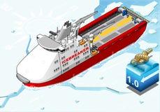 Isometric Icebreaker Ship Breaking the Ice Royalty Free Stock Photography